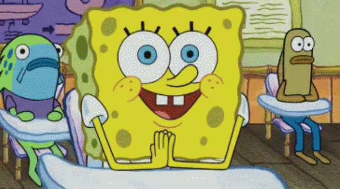 SpongeBob SquarePants in classroom excited to learn