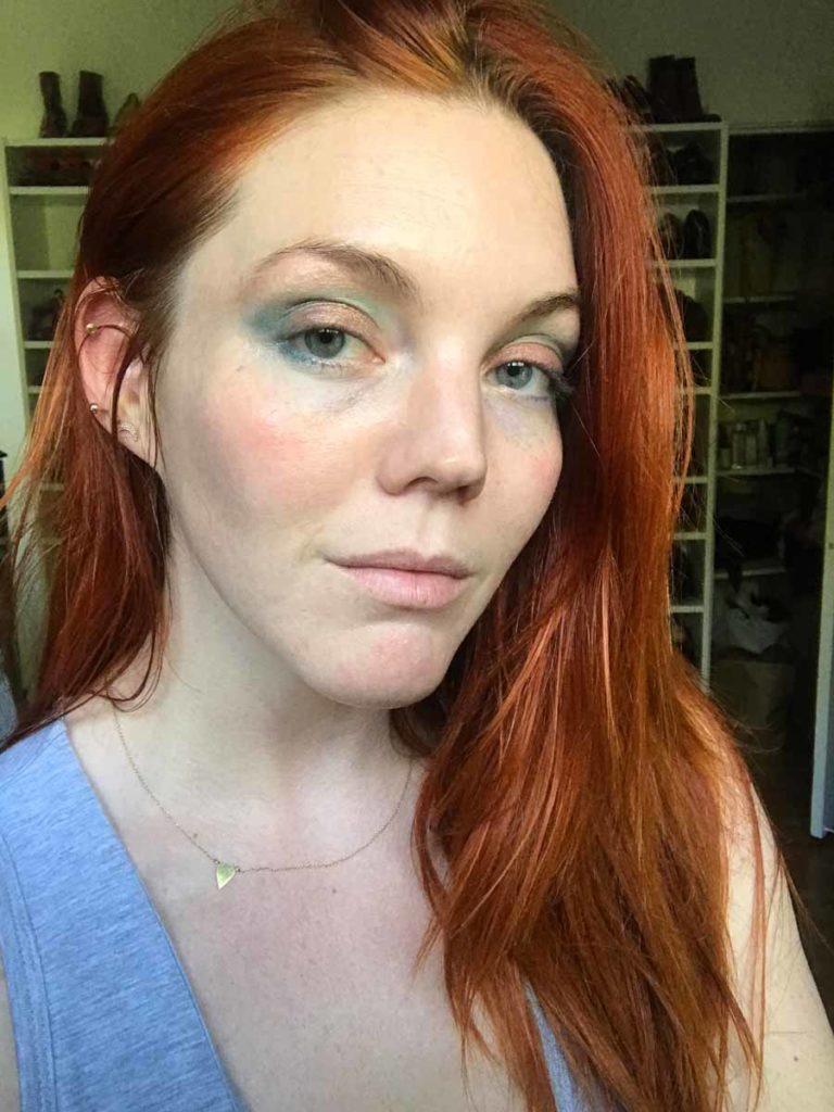 Blue eyeshadow copper