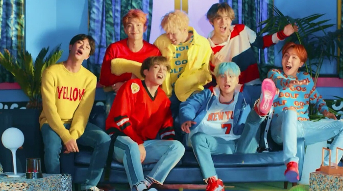 "BTS performing in their music video for ""DNA"""