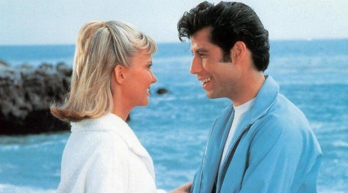 Danny and Sandy at the beach in the beginning of Grease