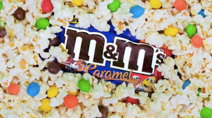 Packet of M&M's caramel in popcorn
