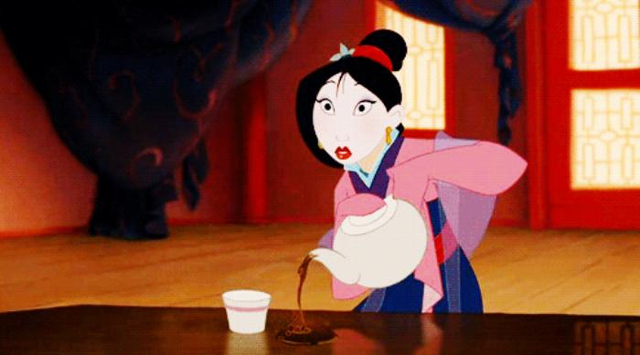 Mulan pouring tea for Matchmaker