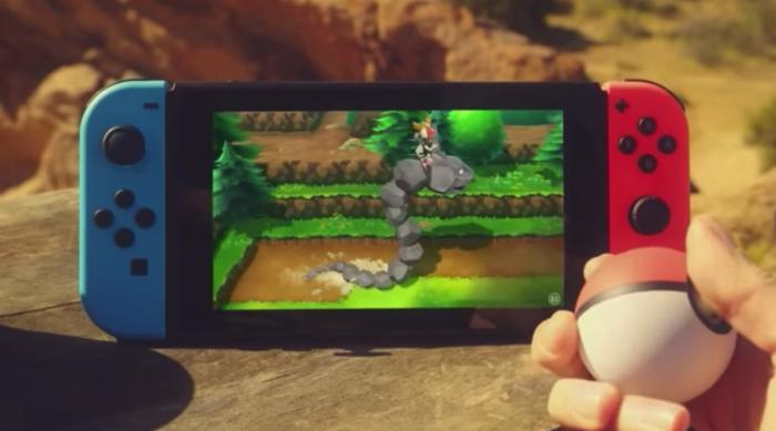 Pokémon Let's Go Pikachu and Eevee riding onix