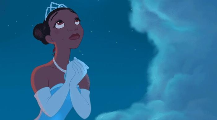 Tiana wishing on a star in The Princess and the Frog