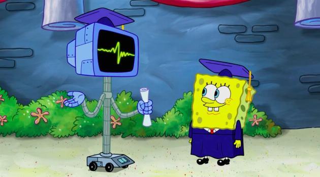 SpongeBob SquarePants: SpongeBob gets a diploma from a robot