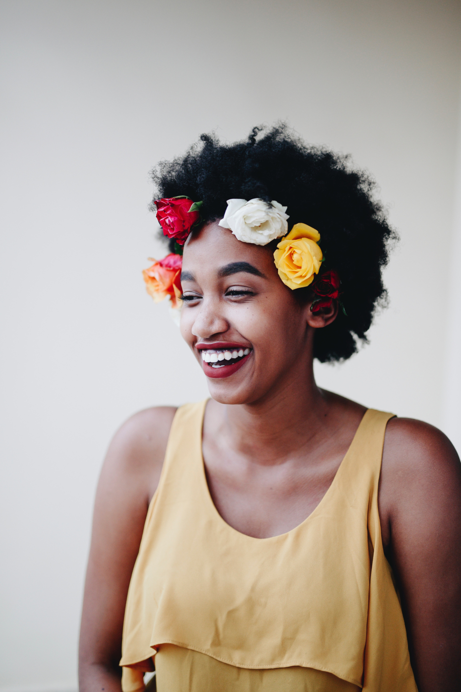 Review of happy not perfect wellness app girl with flower crown smiling izmirmasajfo