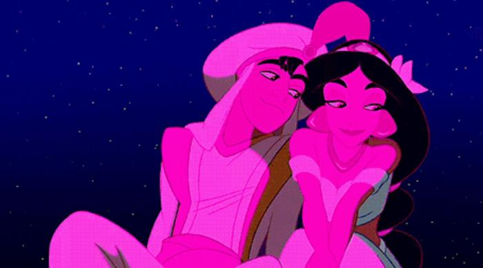 Aladdin: Aladdin and Princess Jasmine watch fireworks together on the rooftop
