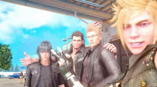 Final Fantasy XV: Prompto takes a selfie with Ignis, Gladiolus and Noctis
