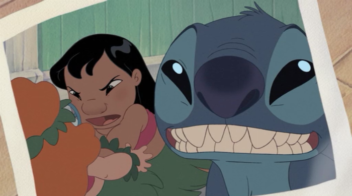 Lilo and Stitch 2: Stitch takes a selfie with Lilo fighting Mertle in the background