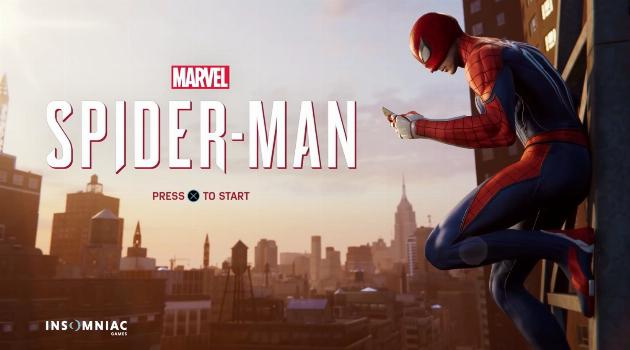 Marvel's Spider-Man for Playstation 4: Spider-Man title screen on his phone