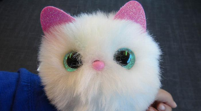 Pomsies snowball pet with teal eyes