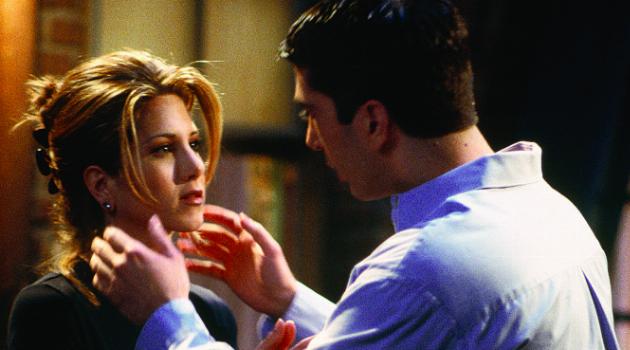 Ross grabbing Rachel's face in Friends