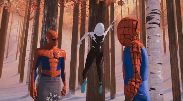 Spider-Man: Into the Spider-Verse - Peter Parker, Gwen Stacey and Miles Morales in costume