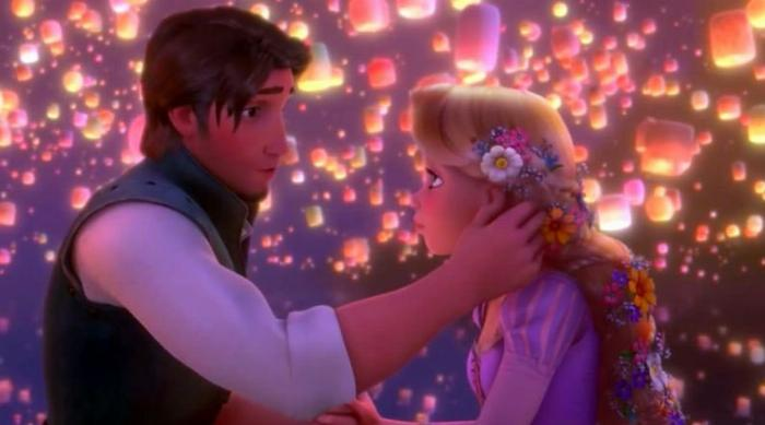 Tangled: Flynn Rider and Rapunzel in front of paper lanterns