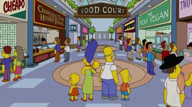 The Simpsons walk into a mall food court