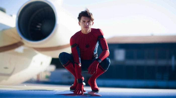 Tom Holland Crouching in His Spider-Man Suit