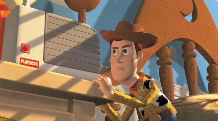 Woody listening in Toy Story