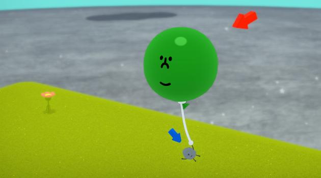Wattam: Stone holding on to smiley balloon
