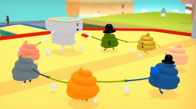 Wattam: Toilet holding hand with poops