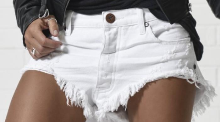 white cut off shorts