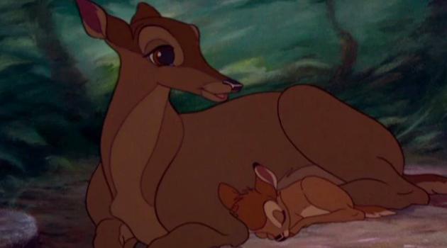 Bambi: Bambi nestled against his mother