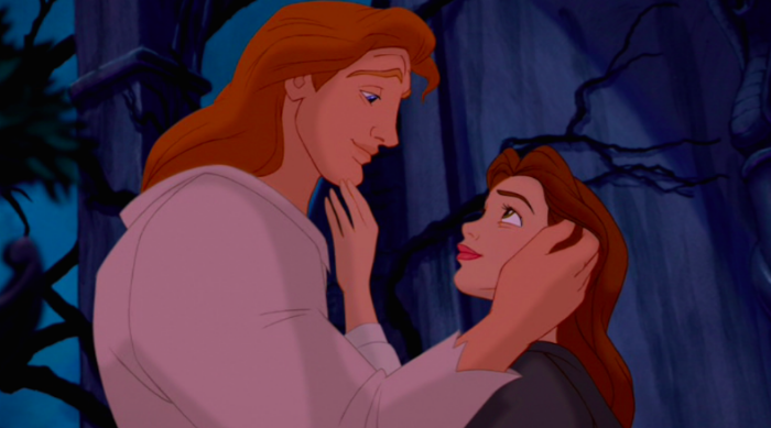 Beauty and the Beast: Belle and Adam touching each other's faces