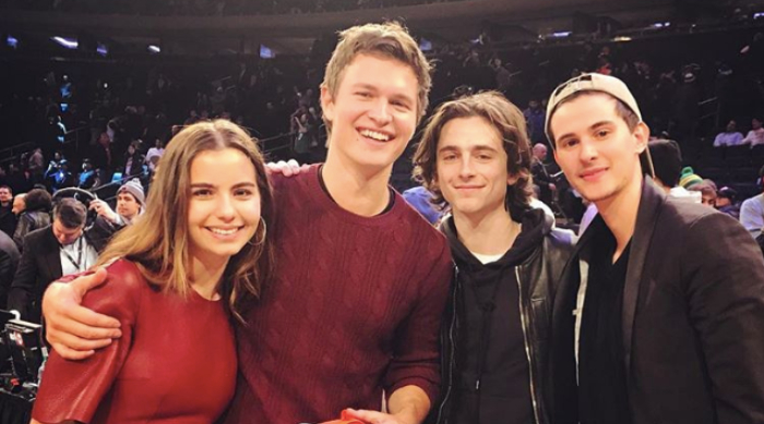Ansel Elgort and Timotheé Chalamet at a basketball game together