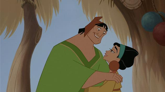 Chicha and Pacha hugging in The Emperor's New Groove