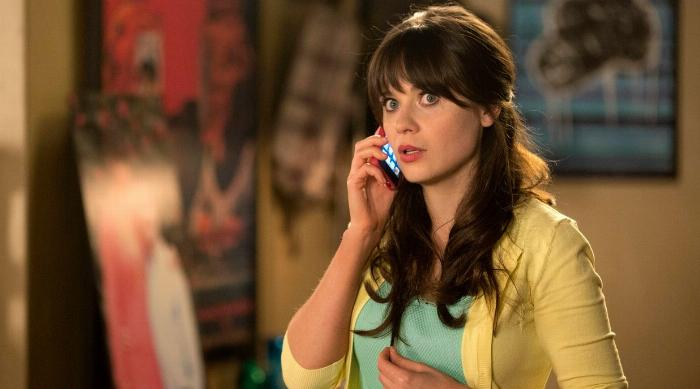 Jess confused while talking on the phone in an episode of New Girl