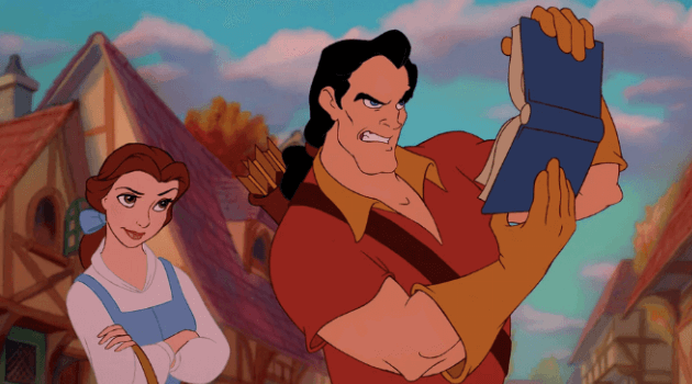 Beauty and the Beast: Gaston making fun of Belle for reading
