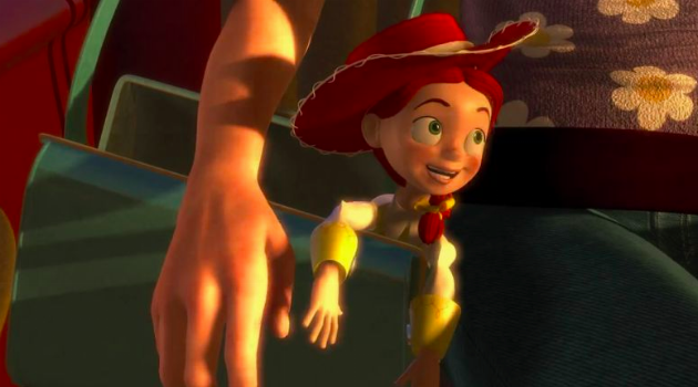 Toy Story 2: Jessie happy in a purse with her human
