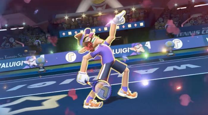 Mario Tennis Aces: Waluigi poses with rose