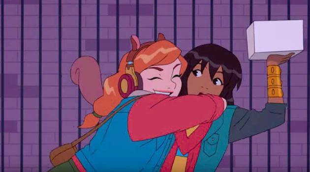 Marvel Rising: Initiation - Squirrel Girl hugs Ms. Marvel
