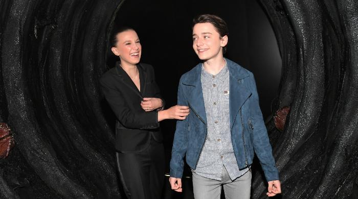 Millie Bobby Brown and Noah Schnapp laughing at FYSEE