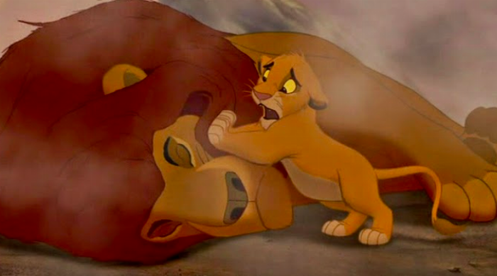 The Lion King: Simba trying to wake up Mufasa after he dies