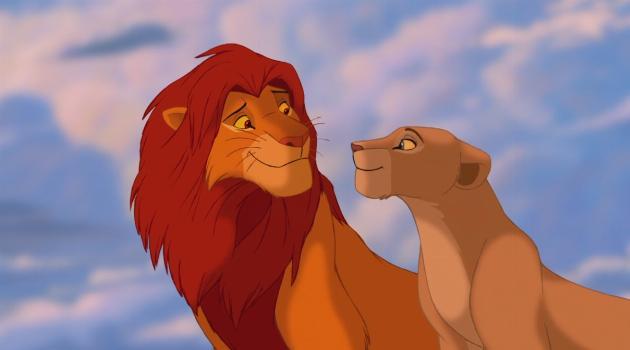 Nala and Simba together at the end of The Lion King