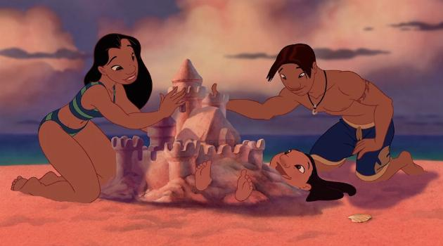 Nani, Lilo and David building a sandcastle together in Lilo & Stitch
