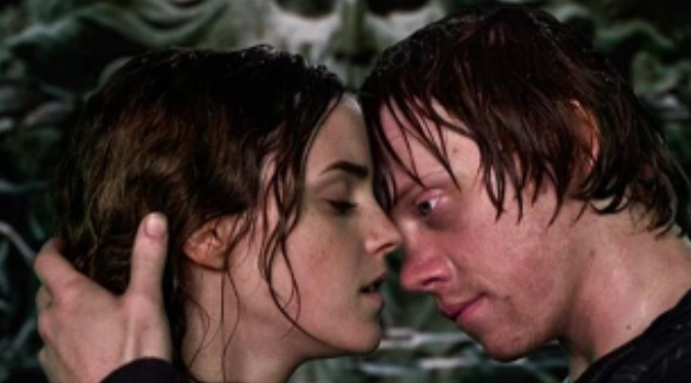 Harry Potter and the Deathly Hallows Part 2: Ron and Hermione's first kiss