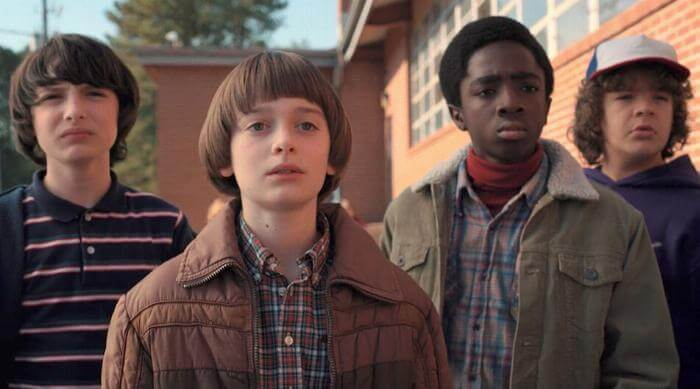Finn Wolfhard, Noah Schnapp, Caleb McLaughlin and Gaten Matarazzo in Stranger Things