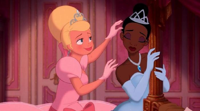 Charlotte putting a crown on Tiana's head in The Princess and the Frog