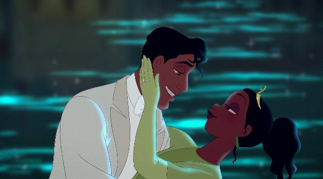 Tiana and Naveen together at the end of The Princess and the Frog
