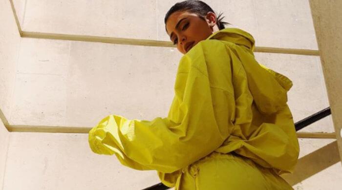 Kylie Jenner in Nylon sweatsuit