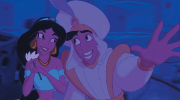 Aladdin: Jasmine and Aladdin on the flying carpet