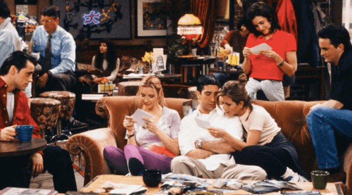 Friends: Rachel, Monica, Joey, Ross, Chandler, Phoebe at Central Perk reading notes together