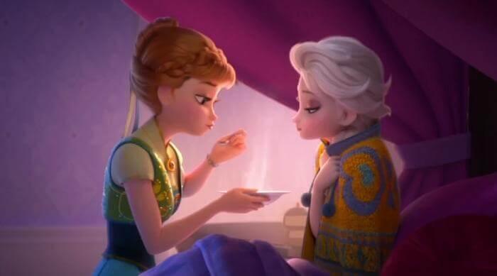 Frozen Fever: Anna feeds Elsa soup
