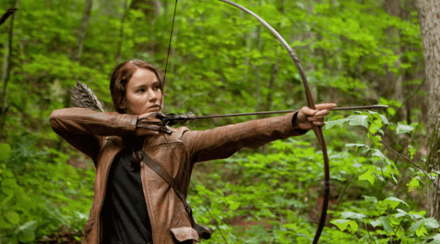 The Hunger Games: Katniss with a bow and arrow