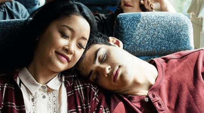 To All the Boys I've Loved Before: Lara Jean and Peter cuddling on the bus home from the ski trip