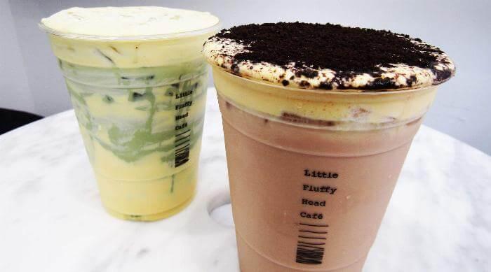 Little Fluffy Head Cheese Teas: Camouflage matcha and dirty mess milk tea