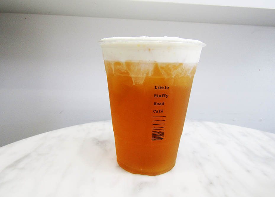 Little Fluffy Head Cafe classic jasmine green tea with cheesecake foam topping