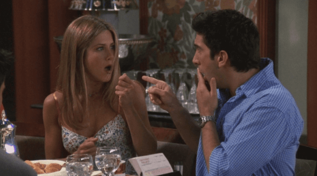 Friends: Rachel and Ross pointing at each other